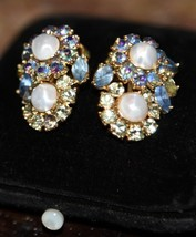 Vintage Trifari Clip Earrings Faux Pearl Prong Set Rhinestone Blue Light Green - $44.99