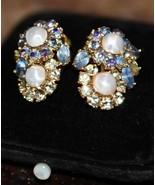 Vintage Trifari Clip  Earrings Faux Pearl PRONG SET  Rhinestone BLUE LIG... - $44.99