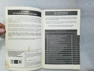OLDS CUTLASS   1979 Owners Manual 14868