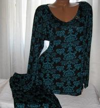 Stretch Plus Size Pajama Set Long Sleeve Long Pants 1X 2X 3X Green Black - $28.99