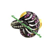 Stylish Real Ruby 925 Sterling Silver Rose Cut Diamond Ring Cute Wedding Ring - $92.75
