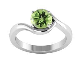 Stylish Round Peridot Gemstone 925 Silver Party Ring US Size 7 SHRI1104 - $24.00