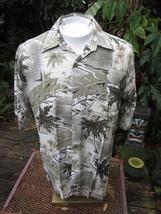 Hawaiian ALOHA shirt M pit to pit 23 CAMPIA MODA rayon tropical palm fol... - $14.69