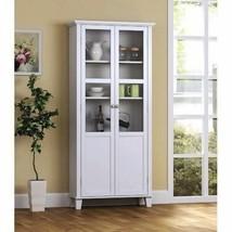 NEW White Kitchen Storage Cabinet Shelving Laundry Room Glass Doors Orga... - $242.45