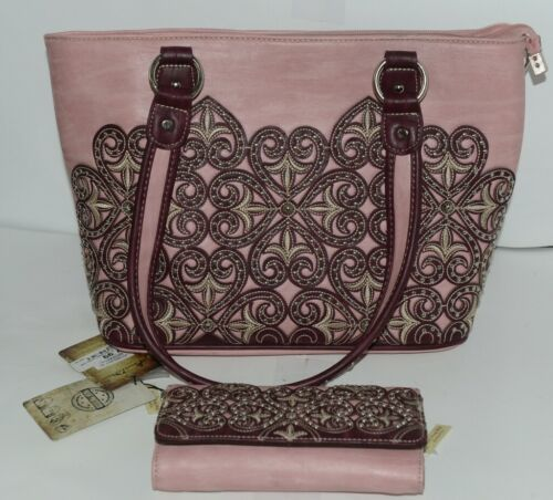 Montana West Collection MW669G 8317 Large Faux Leather Pink Conceal Carry Purse