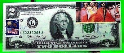 MONEY US $2 DOLLARS 1976 FEDERAL RESERVE NOTE STARS OF MUSIC BEATLES GEM UNC