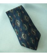 Henry Grethel Green Blue Neck Tie 100% Silk Geometric Diamond Paisley Mens - $27.00