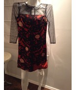 PLENTY FROCK by TRACY REESE - Red & Black - Floral - 100% PURE SILK Dress sz 0 - $43.56