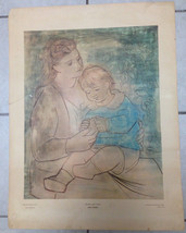 """Pablo Picasso Signed In Plate """"Mother And Child"""" Print Shorewood Press Cone Rare - $186.64"""