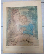 """PABLO PICASSO SIGNED in Plate """"MOTHER AND CHILD"""" Print Shorewood Press C... - $186.64"""