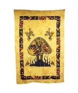 PAGAN/SPIRITUAL Mushrooms& dragonfly Iconic Indian wall hanging./bedspread - $37.96