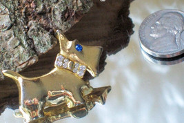 Vintage Scottie Dog Pin Fashion Whimsy with Crystal Bow Tie~Pooch Brooch... - $35.00