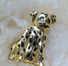 Vintage Dog Pin Costume Jewelry~Spotted Dog Pin~Gold Tone Color Black En... - $30.00