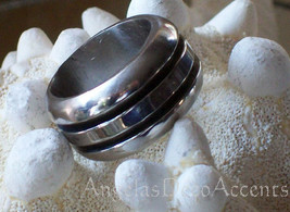 Vintage Stainless Ring Polished Steel Hand Welded Ribbed SZ 5 1970s Silv... - $69.00