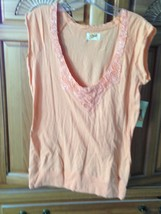 Women's peach shirt with lace neckline By Ezekiel Size Large - $34.99