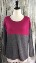 Splendid M Top Pink/Gray Cashmere Blend Colorblock Pullover Sweater - $22.23