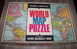 Vintage Selchow and Righter Company World Map Puzzle Rand McNalley Map - $10.89
