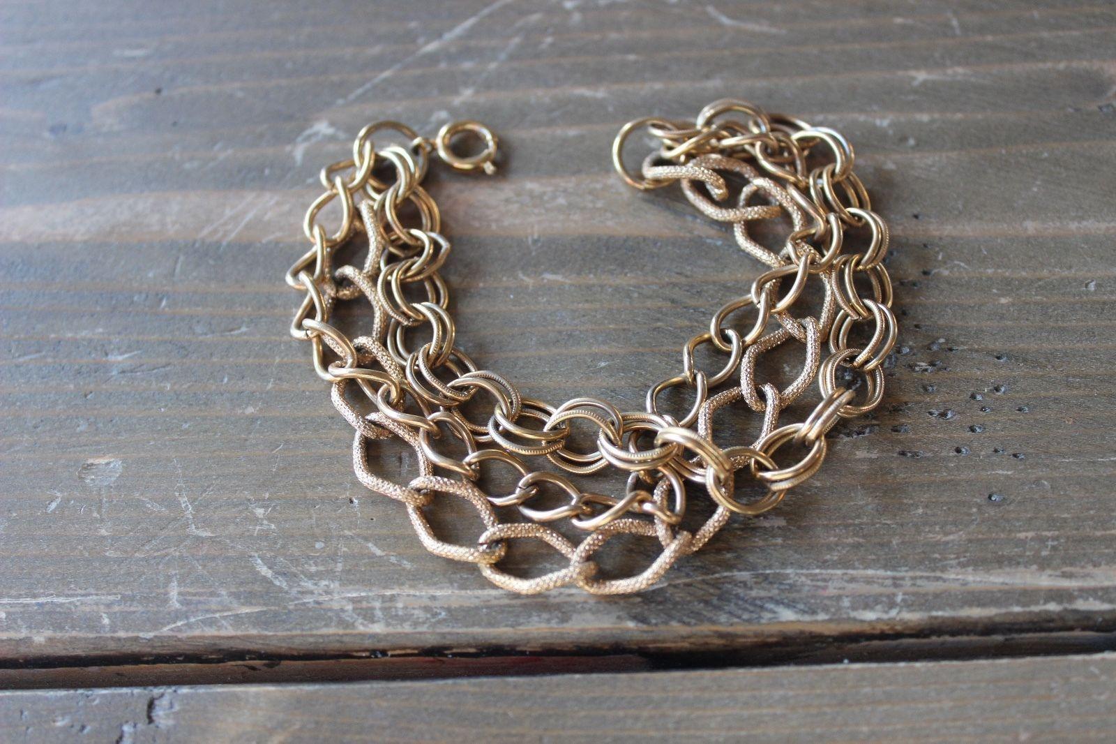 Vintage Gold Tone Three Multi Strand Bracelet 7.5 inches