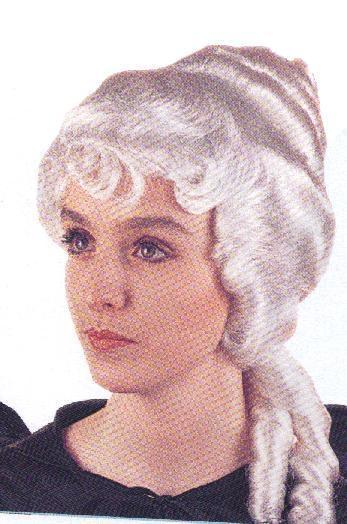 LADIES COLONIAL WIG WHITE with PONYTAILS