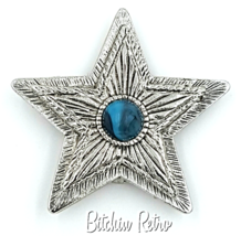 Hilco Vintage Star Pendant and Brooch with Turquoise Glass Cabochon - $14.00