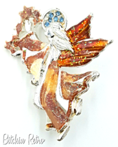 AAi Christmas Angel Brooch,Silver and Amber Tones, Holiday  - $11.00