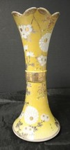 """Unique 1920s Hand Painted Japanese Satsuma 11 3/4"""" Yellow * White Flower... - $94.99"""