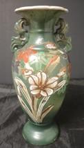 "1920s Japanese Satsuma 11"" Green Flower Vase * Colorful Hand Painted Flo... - $75.98"