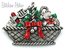 JJ Vintage Christmas Brooch - Basket of Toys Candy Canes and Holly   - $18.00