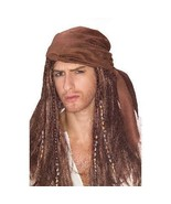 PIRATE WIG CARIBBEAN THEMED WITH SCARF and BEADS - $18.00