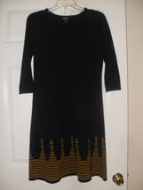 Nine West New Womens Black/Gold 3/4 Sleeve Sweater Dress    M - $23.75