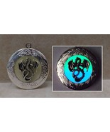 DRAGON GLOW in the DARK Silver Round Photo Locket Necklace Fantasy Steam... - $17.00