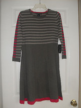 Jessica Howard New Taupe/Pink/Olive Striped 3/4 Sleeve Flared Sweater Dr... - €19,92 EUR