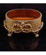 Antique LARGE Amber GLass Ormolu jewelry casket Gold Footed Vanity Box a... - $125.00