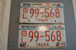 2009 Wisconsin Truck  License Plates Pair - $10.99