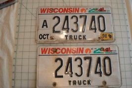 Wisconsin Truck  License Plates Pair - $10.99