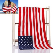 American Flag Beach Bath Towel Stars Stripes Patriotic 4th of July Red W... - $18.69