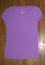 justice solid purple crew neck soft layering tee shirt top size 6 girls - $5.15