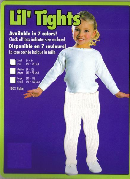 CHILD'S WHITE TIGHTS SZ LARGE 75-100 LBS., SZ 12-14