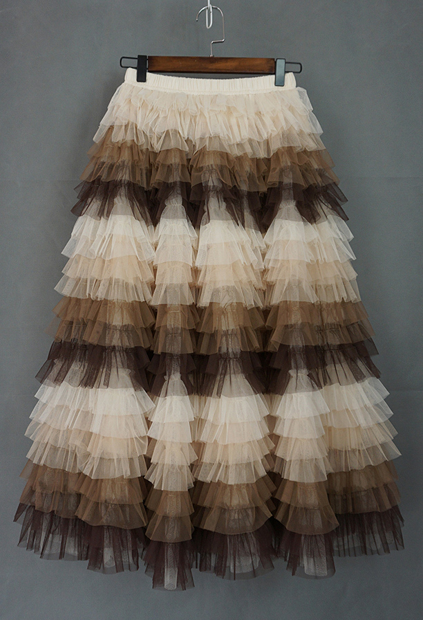 Tiered tulle midi skirt 4