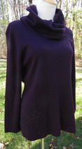 ADRIANNA PAPELL Dark Plum LS Tunic Sweater Cowl Neck with Floral Beading... - $30.84