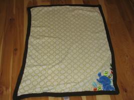 Taggies Blue Elephant White Green Circle Polka Dots Brown Trim Baby Blanket - $30.48