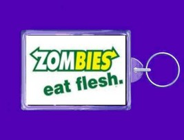 zombies eat flesh  handmade in uk from uk made parts keyring, keyfob