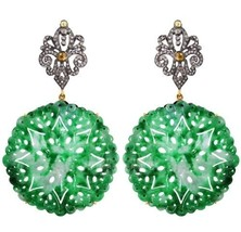Onyx Gemstone Carved 14k Gold Diamond Studded Dangle Earrings 925 Silver... - $798.73