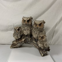 "Sparkly Owl Family on Branch Figurine 7"" x 6 1/2"" Resin Baby Momma Daddy... - $11.99"