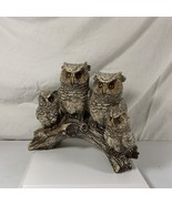 """Sparkly Owl Family on Branch Figurine 7"""" x 6 1/2"""" Resin Baby Momma Daddy... - $11.99"""