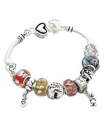 Mom Mother Charm Bracelet G10 BZ Murano Glass B... - $24.63
