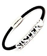 Sister Magnetic Bracelet Heart C56 Black Leatherette - $16.71