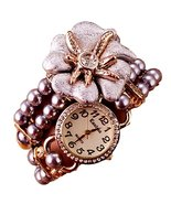 Watch Wrap Bracelet C18 Floral Clear Crystal Gr... - $34.53