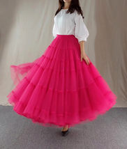A Line Layered Tulle Skirt Full Long Layered Ruffle Tulle Skirt Brown image 8