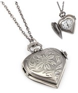 Heart Pocket Watch Necklace C32 Antique Silver ... - $29.58